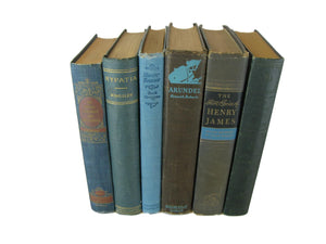 Blue and Gray Vintage Books for Mantle Decor, S/6 - Decades of Vintage