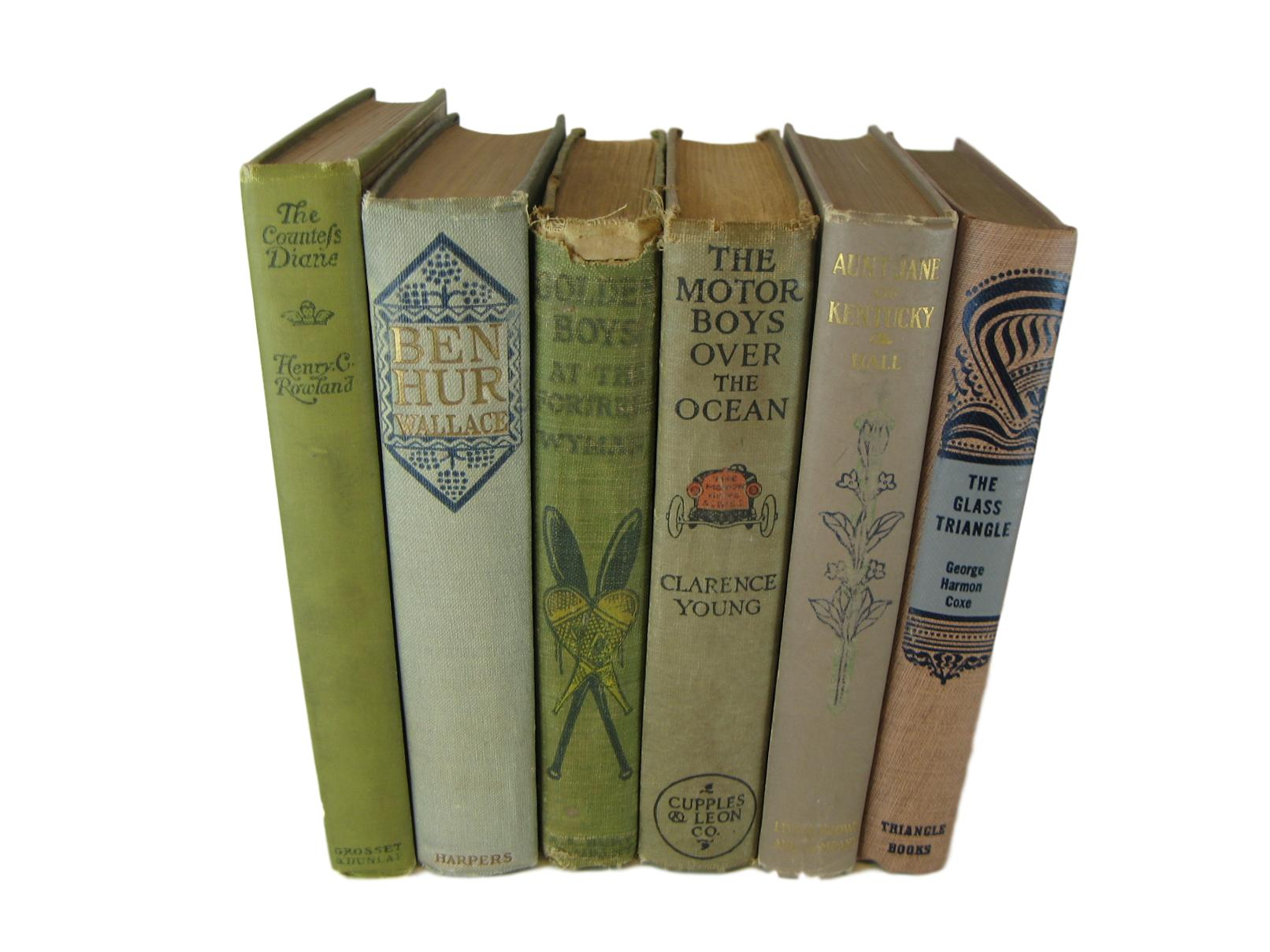 Neutral Decorative Display of Books, S/6 - Decades of Vintage