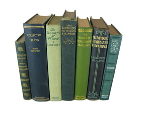 Blue and Green Decorative Books by Color for Bookshelf Decor, S/7 - Decades of Vintage