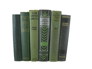 Green Decorative  Books for Display, S/6 - Decades of Vintage
