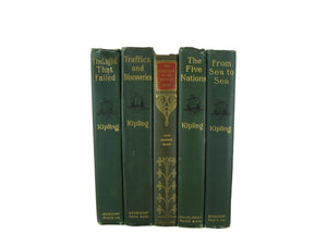 Green Decorative  Books for Display, S/5 - Decades of Vintage