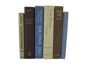 Blue, Brown and Beige Decorative Books, S/6 - Decades of Vintage