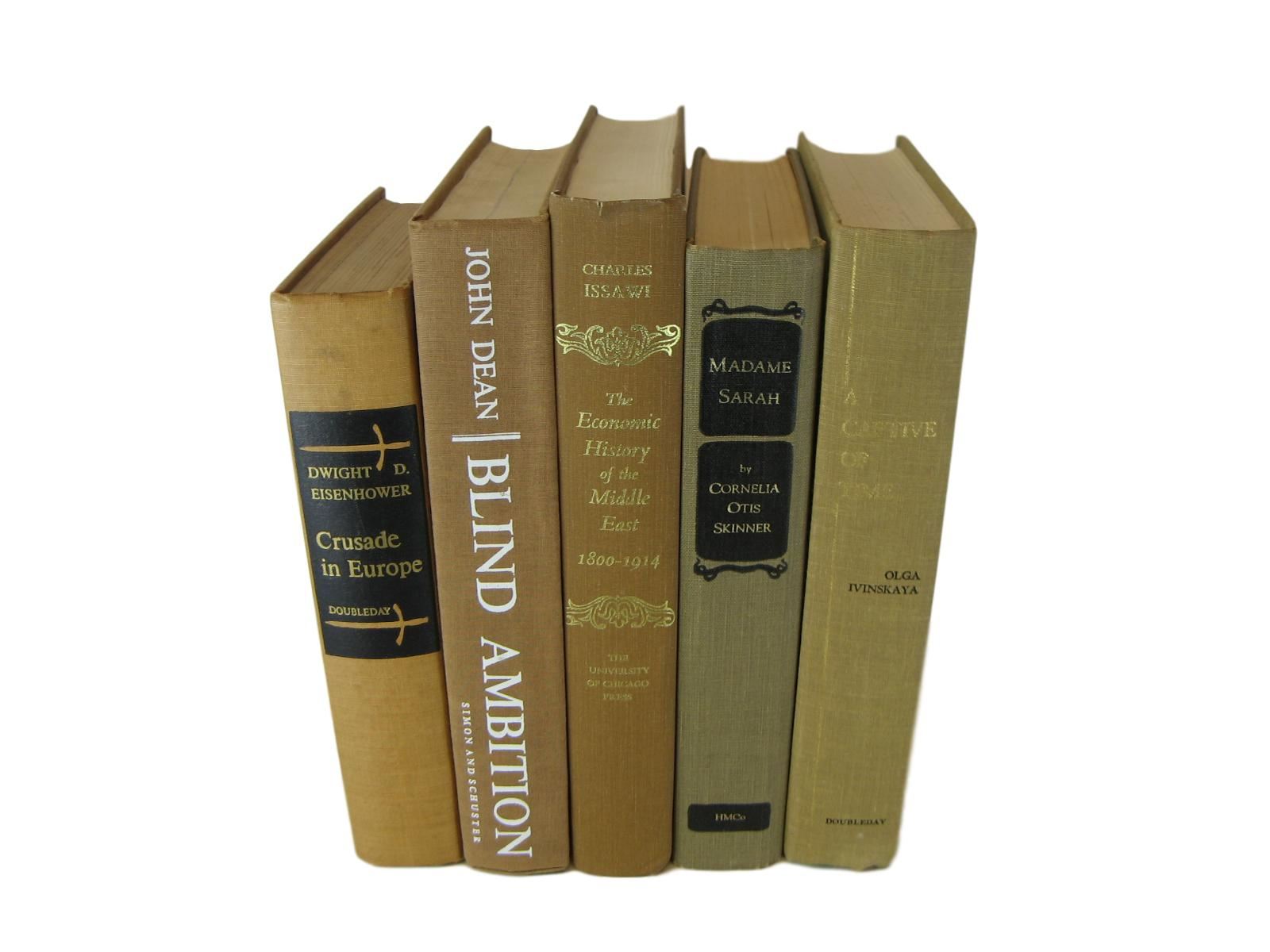 Brown Vintage Decorative Books for Home Decor, S/5 - Decades of Vintage