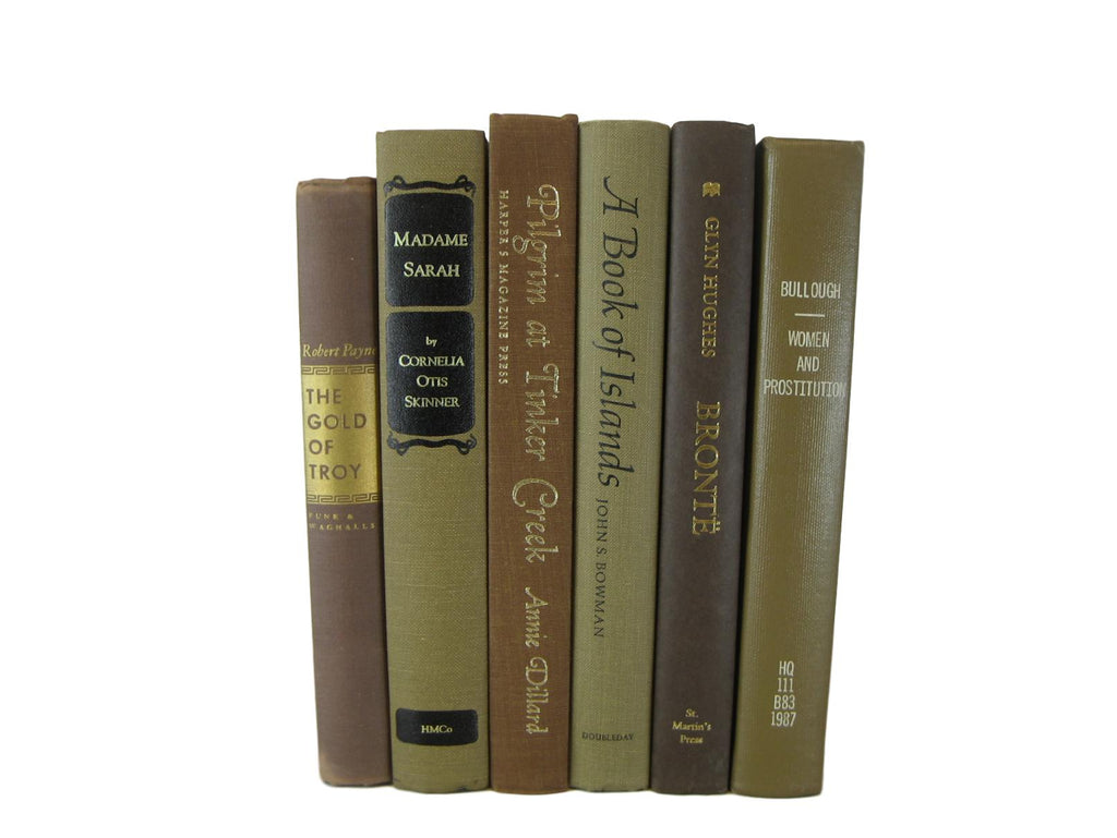 Brown Decorative  Books by Color  with Vintage Books, S/6 - Decades of Vintage