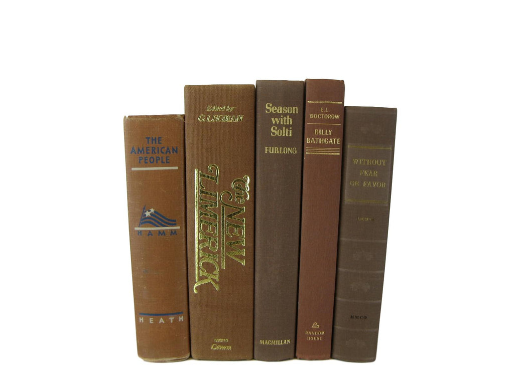 Vintage Decorative Brown Books, S/5
