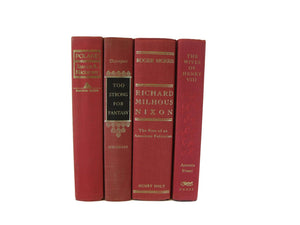 Red Decorative Books, Vintage Books for Decor, S/4