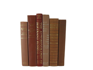 Brown Rust Terracotta  Decorative Vintage Book Set, S/6 - Decades of Vintage