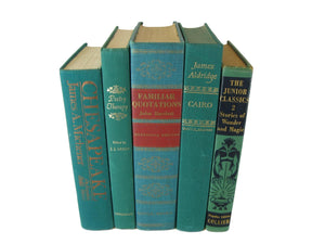Green Vintage Books  for Decor, S/5