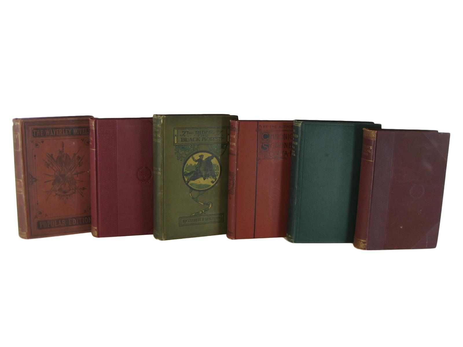 Distressed Antique Decorative  Books in Red Brown and Green , S/6 - Decades of Vintage