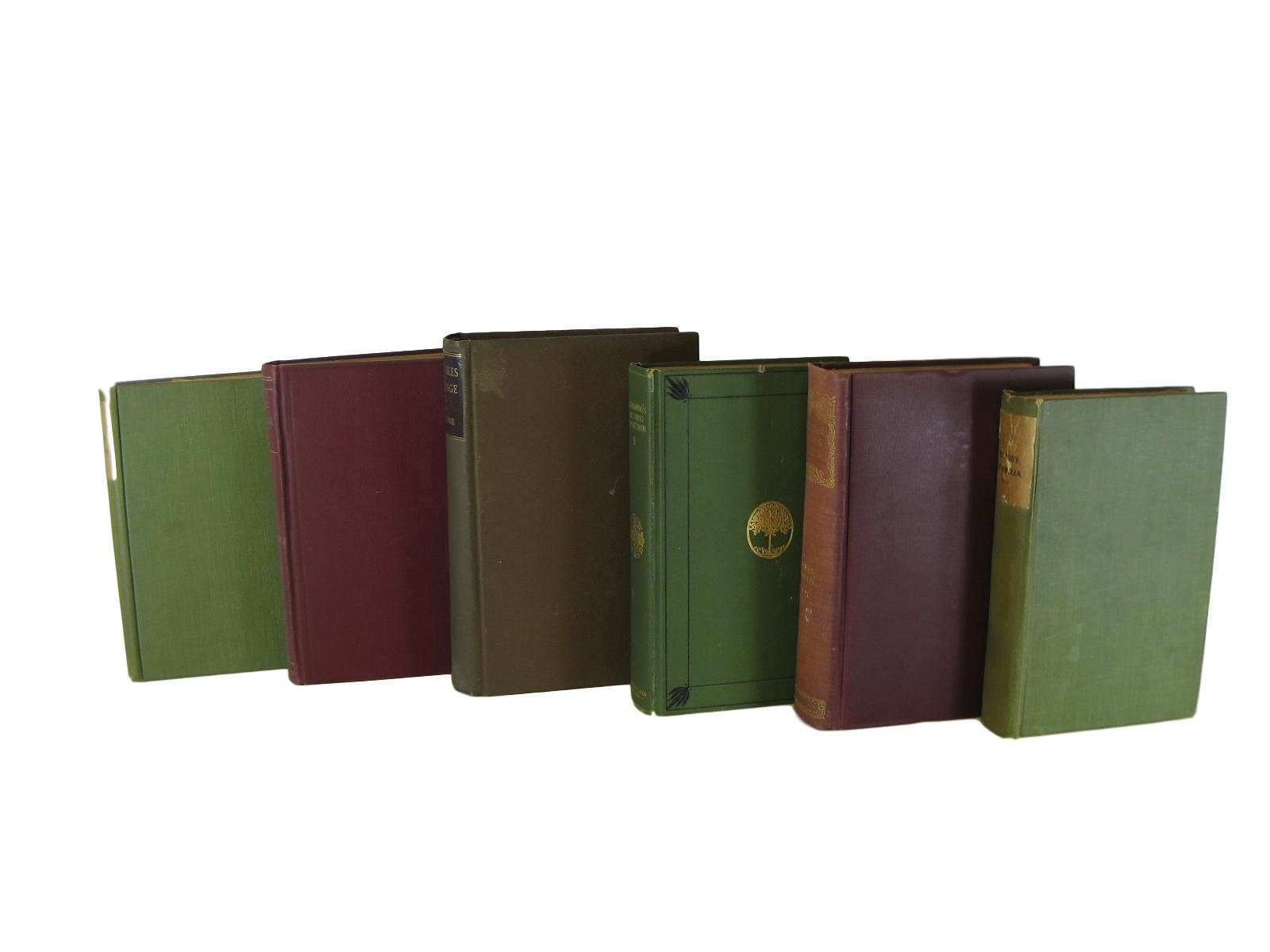 Rustic Chic Decorative  Book Stack in Greens and Red, S/6