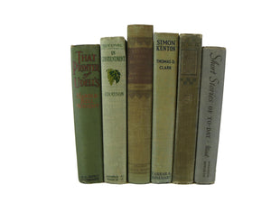 Neutral and Green Rustic Chic  Decorative  Books, S/6 - Decades of Vintage