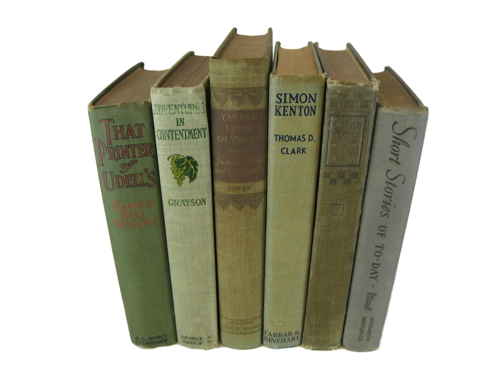 Neutral and Green Rustic Chic  Decorative  Books, S/6