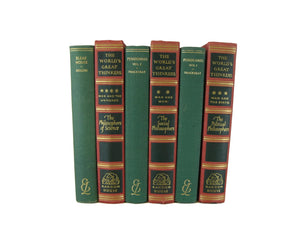 Decorative  Book Stack in Red and Green, S/6 - Decades of Vintage