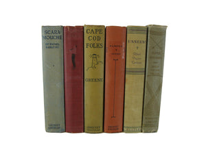 Decorative  Book Stack in Red and Neutral Tones, S/6 - Decades of Vintage