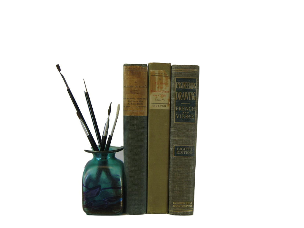 Vintage Decorative Book Accent Set in Green, S/3