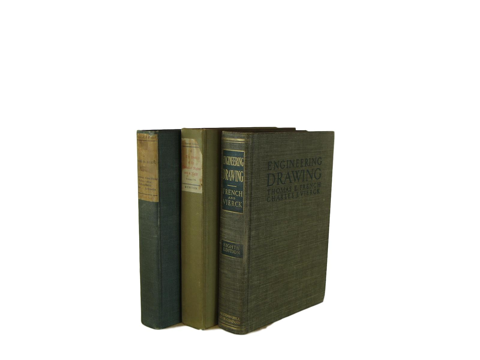 Vintage Decorative Book Accent Set in Green, S/3 - Decades of Vintage