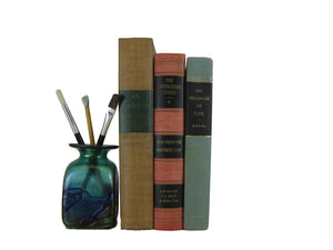 Decorative Book Accents in Tan, Green, and Red - Decades of Vintage