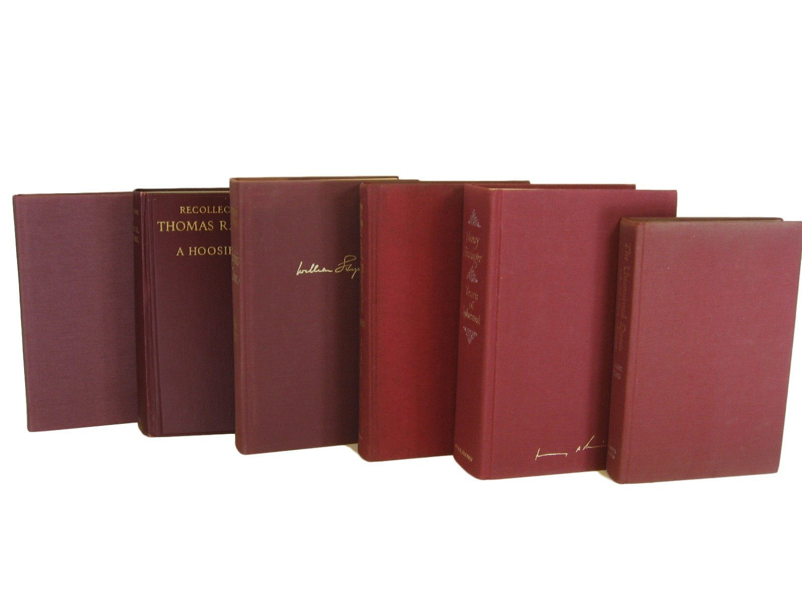 Red Burgundy Maroon Vintage Book Decor, S/6 - Decades of Vintage