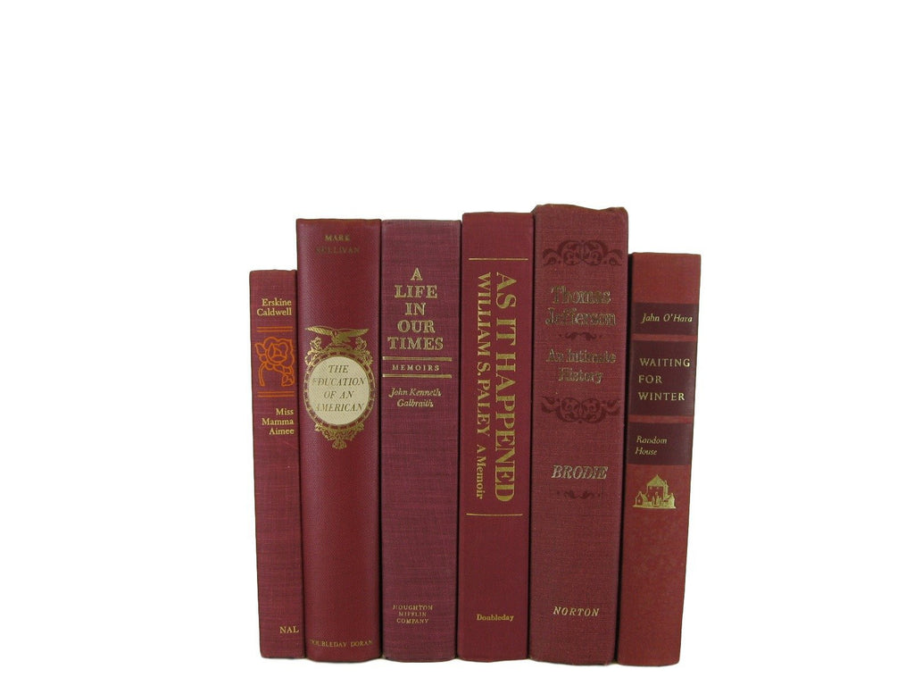Dark Red Decorative Vintage Book Set, S/6 - Decades of Vintage