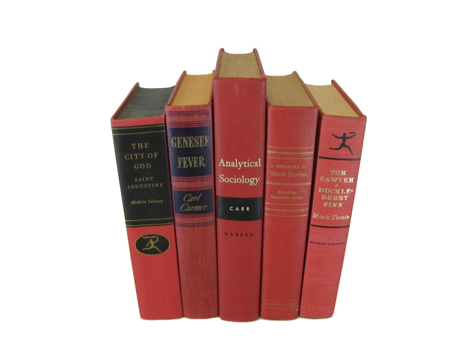 Red Vintage Books for Bookcase Decor, S/5 - Decades of Vintage