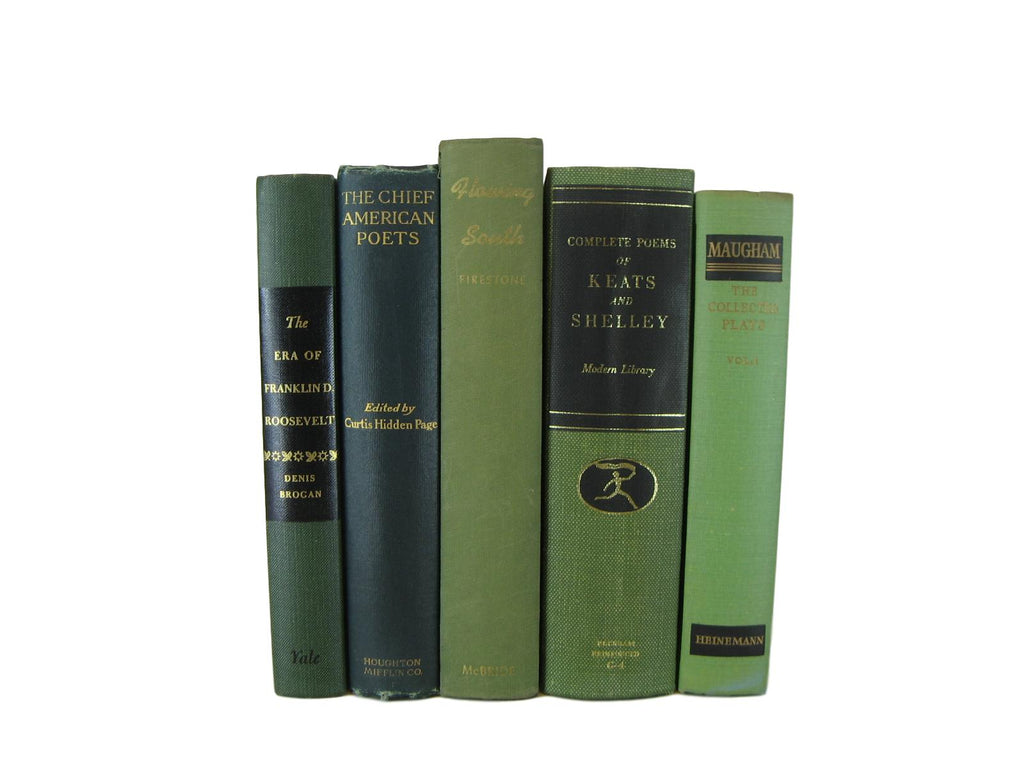 Green Decorative Books for Home Decor, S/5