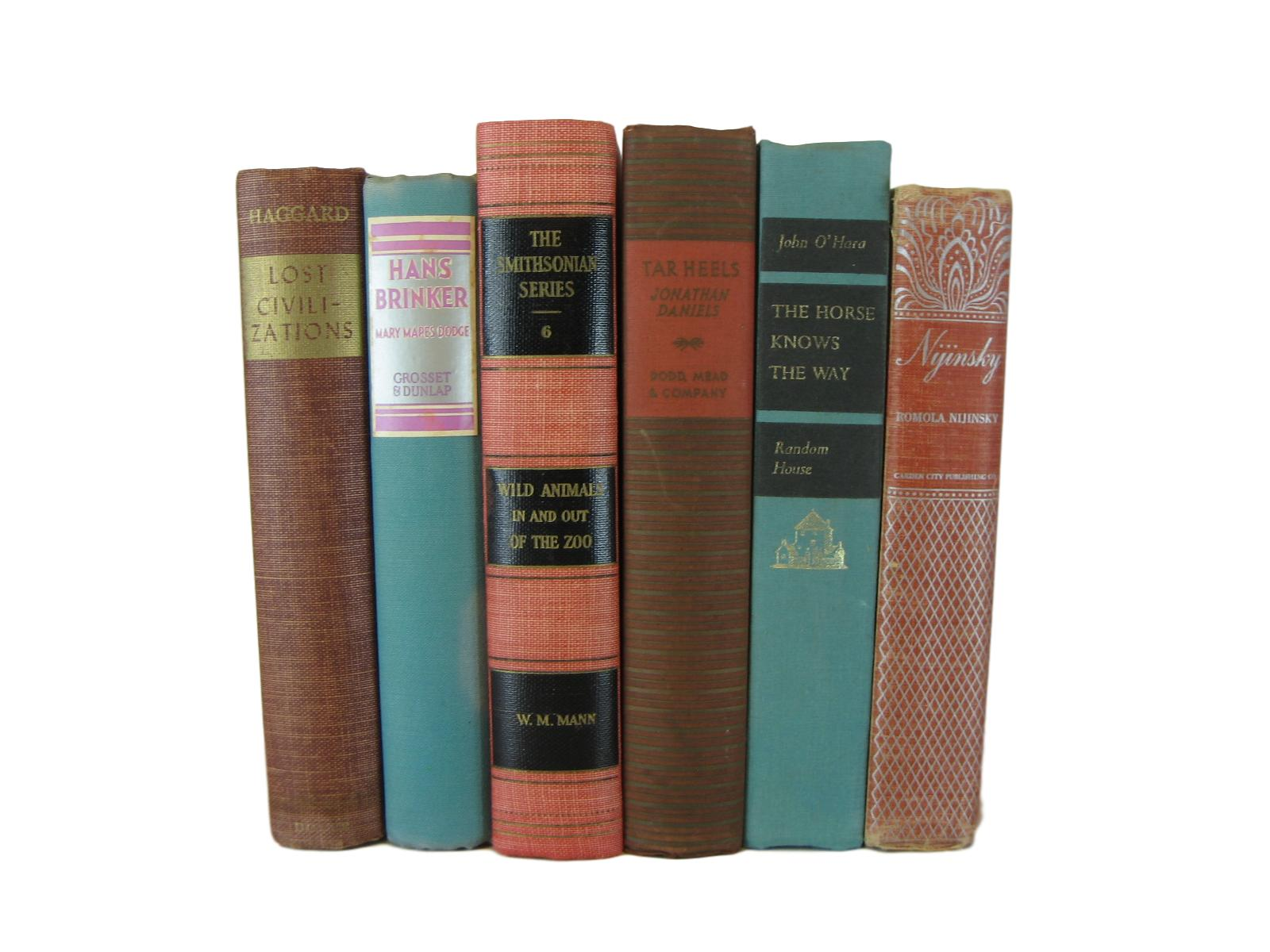 Multi-color Decorative Vintage  Books for Shelf  Decor, S/6 - Decades of Vintage