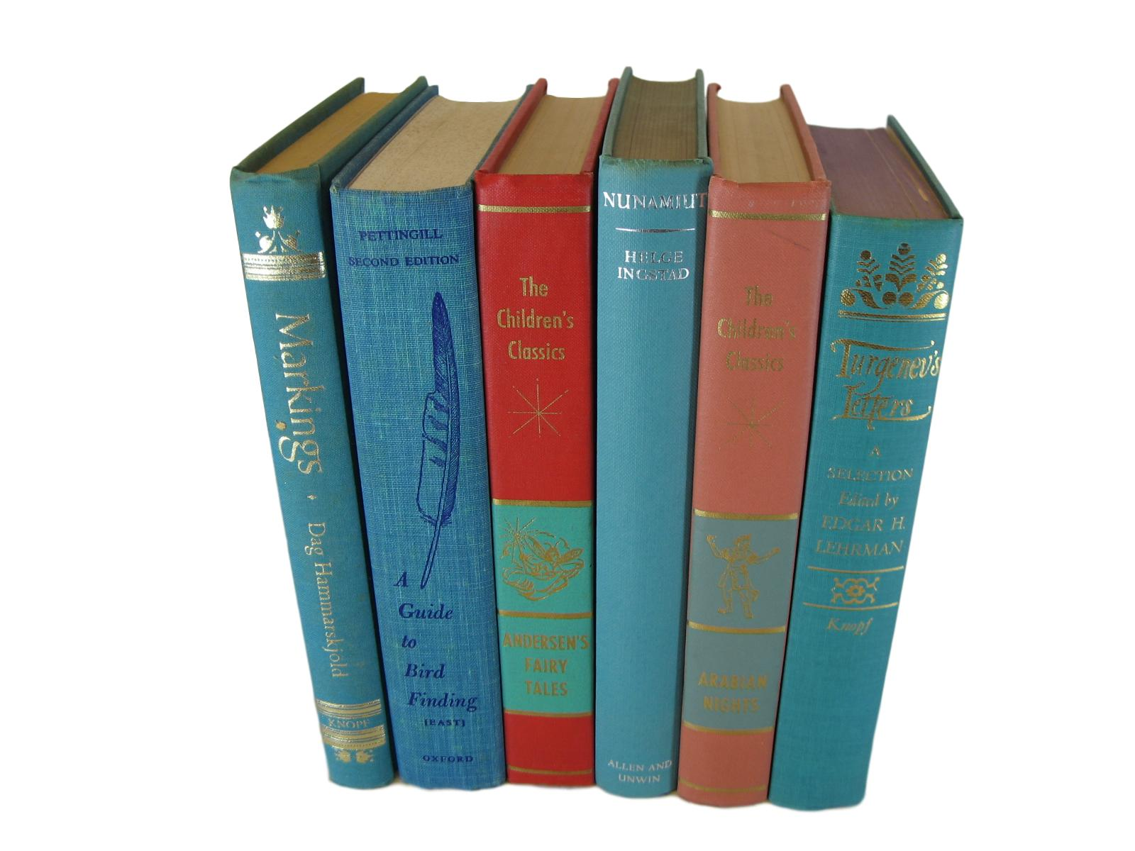 Turquoise Aqua Decorative  Books for Designer Book Decor, S/6 - Decades of Vintage