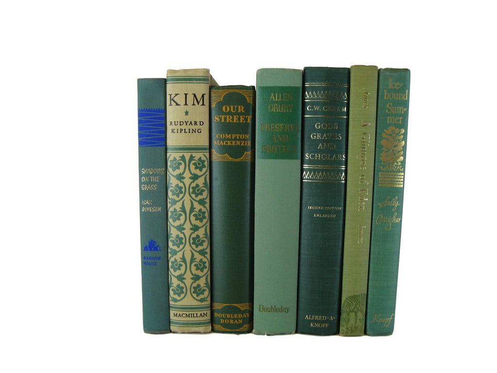 Green Decorative Books for Home Decor, S/7 - Decades of Vintage