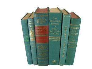 Green Decorative  Books for Designer Book Decor, S/6 - Decades of Vintage