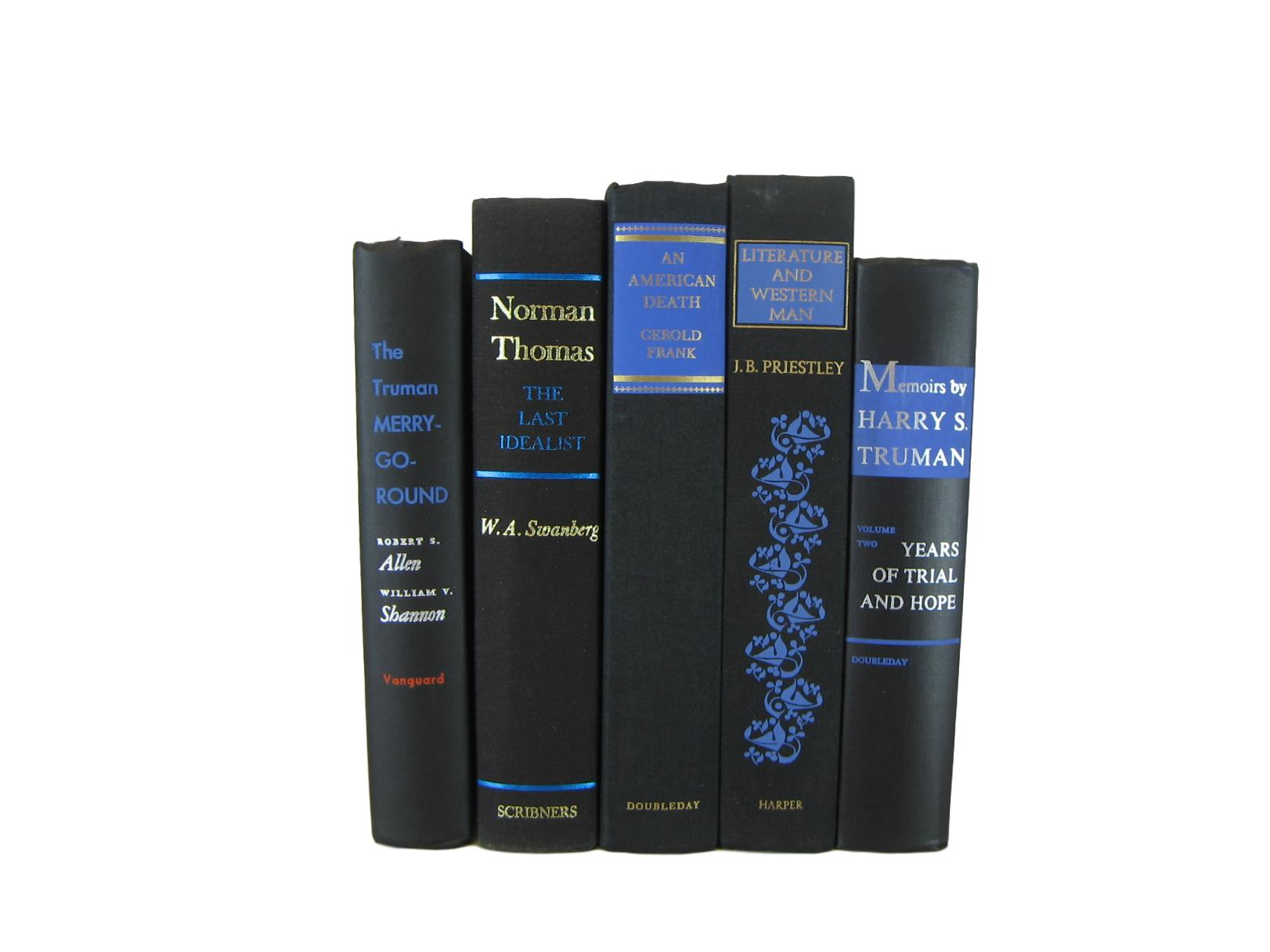 Black Vintage Books with Blue Embellishments for Decor, S/5