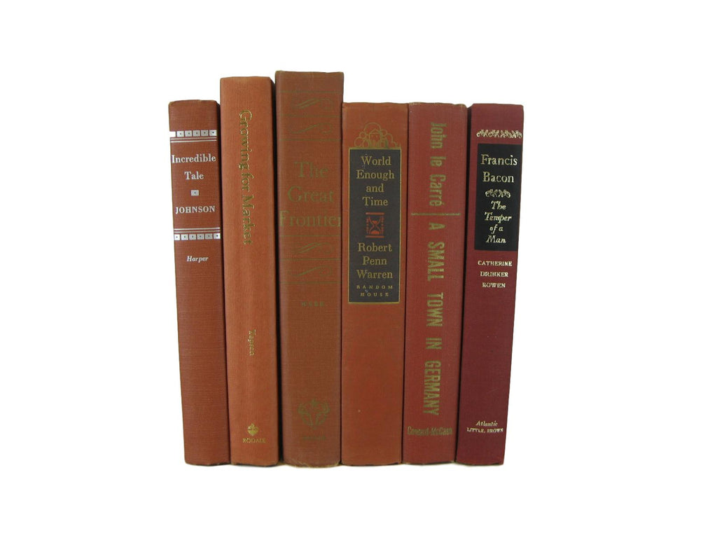 Brick Terra Cotta Rust Orange  Vintage Book Set, S/6