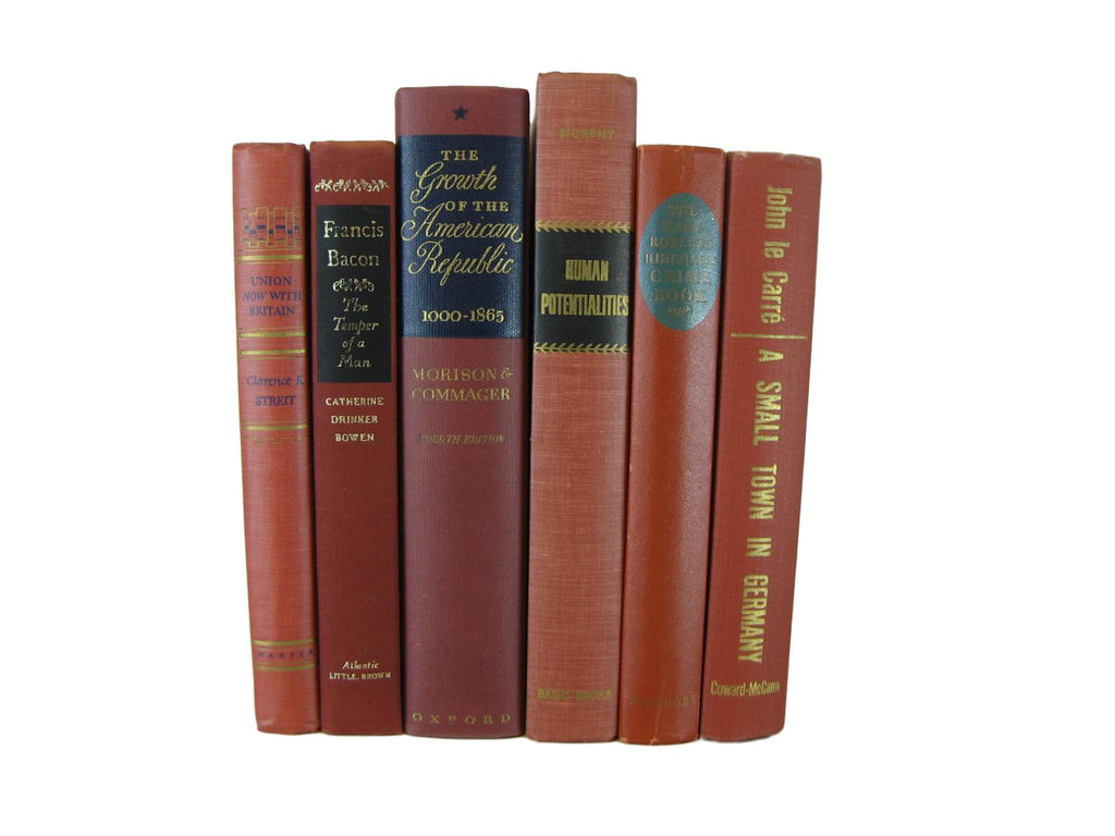 Brick brown  Rust Orange  Vintage Book Set, S/6