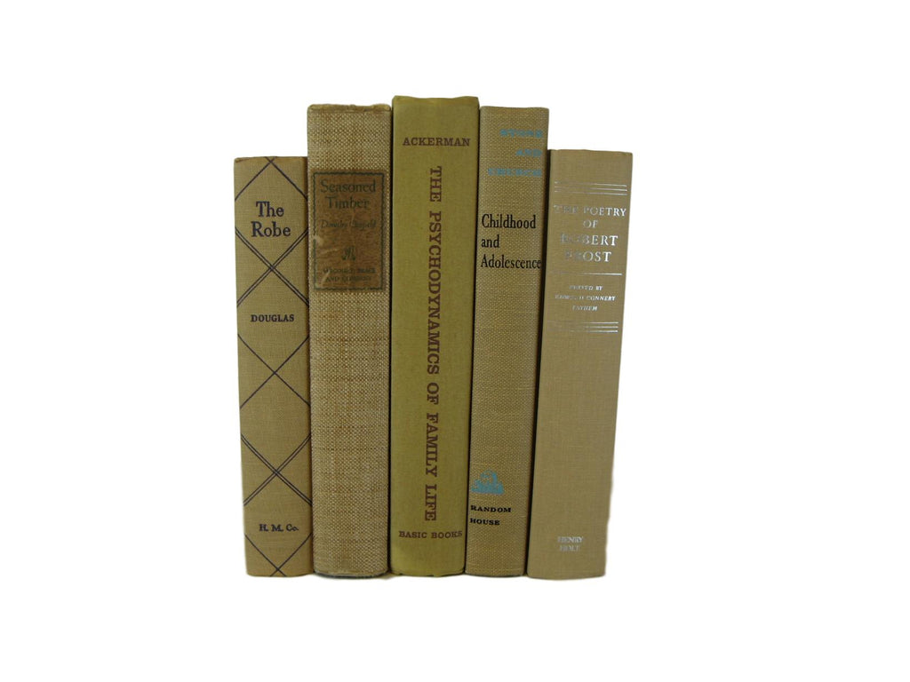 Light Brown Books for Farmhouse Vintage Books for  Decor, S/5