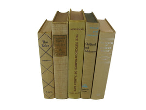 Light Brown Books for Farmhouse Vintage Books for  Decor, S/5 - Decades of Vintage