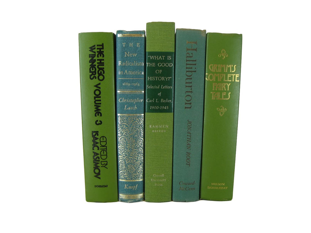 Green Decorative Books for Shelf Decor, S/5