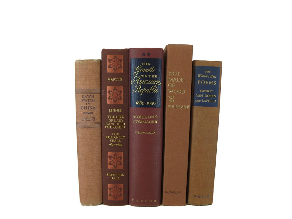 Brown Decorative  Books by Color  with Vintage Books, S/5