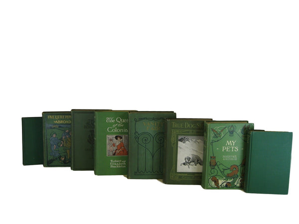 Green Rustic Chic  Decorative  Books, S/8 - Decades of Vintage