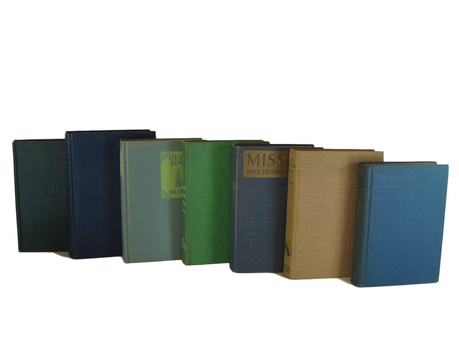 Antique and Vintage Decorative Books in Blue and Green, S/7 - Decades of Vintage