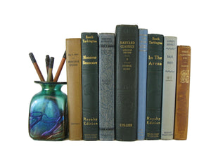 Blue Green Decorative Books by Color for Bookshelf Decor, S/8 - Decades of Vintage