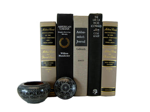 Black and Taupe Decorative Book Set, S/5 - Decades of Vintage