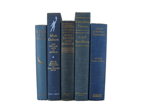 Blue Decorative Book Set for Bookshelf Design, S/5 - Decades of Vintage