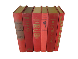 Red Decorative Books for  Vintage Book Decor, S/6 - Decades of Vintage