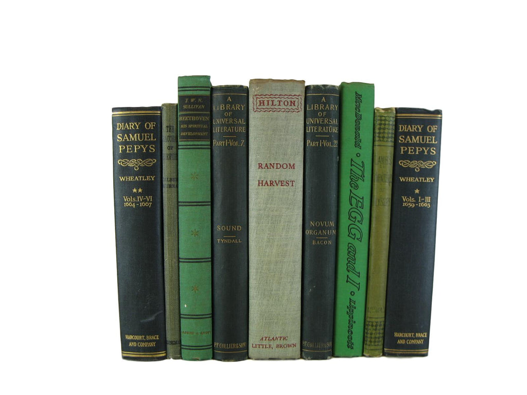 Farmhouse Chic Decorative Books in Green, S/9 - Decades of Vintage