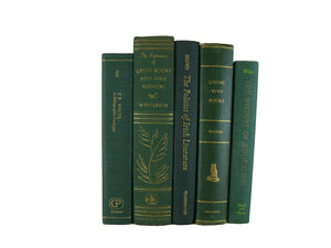 Green  Books for Farmhouse Decor, S/5