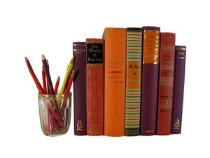 Decorative Book Set in Orange and Deep Purple, S/7 - Decades of Vintage