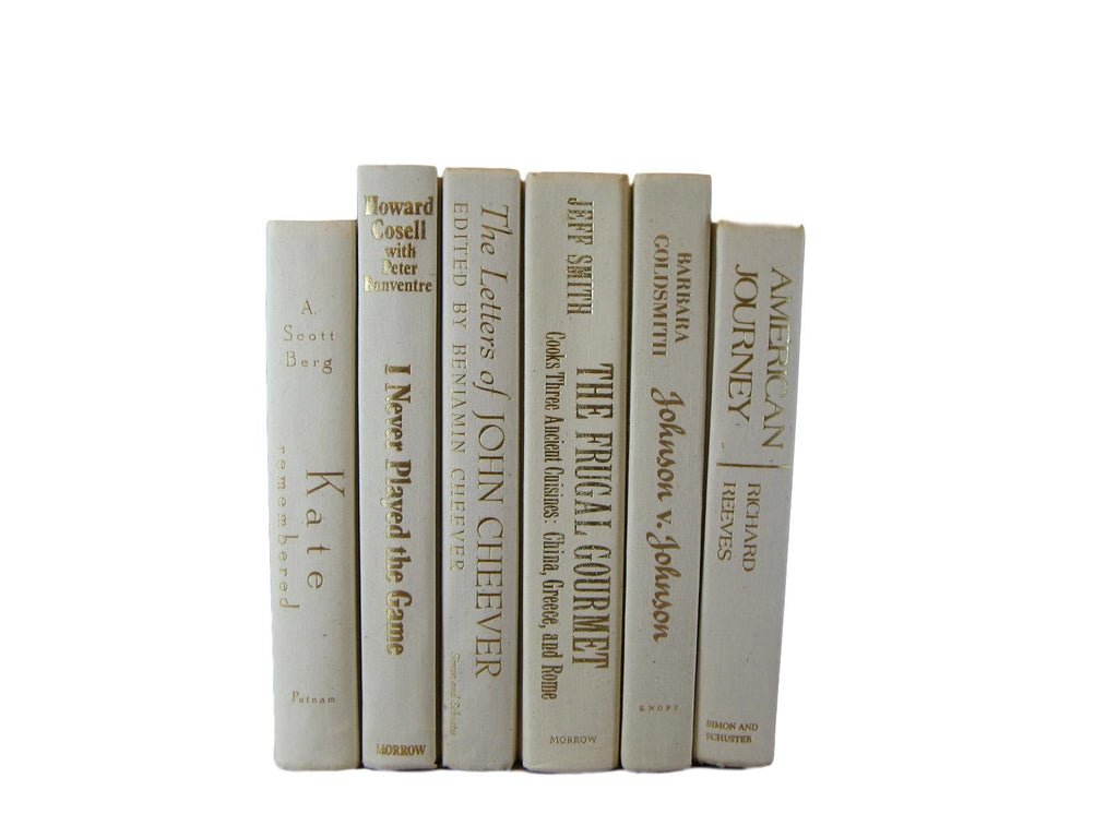 Beige White Decorative Books for Display, Set of 6