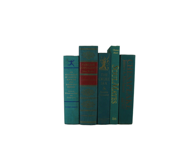 Green Turquoise Vintage Books by Color, S/5 - Decades of Vintage