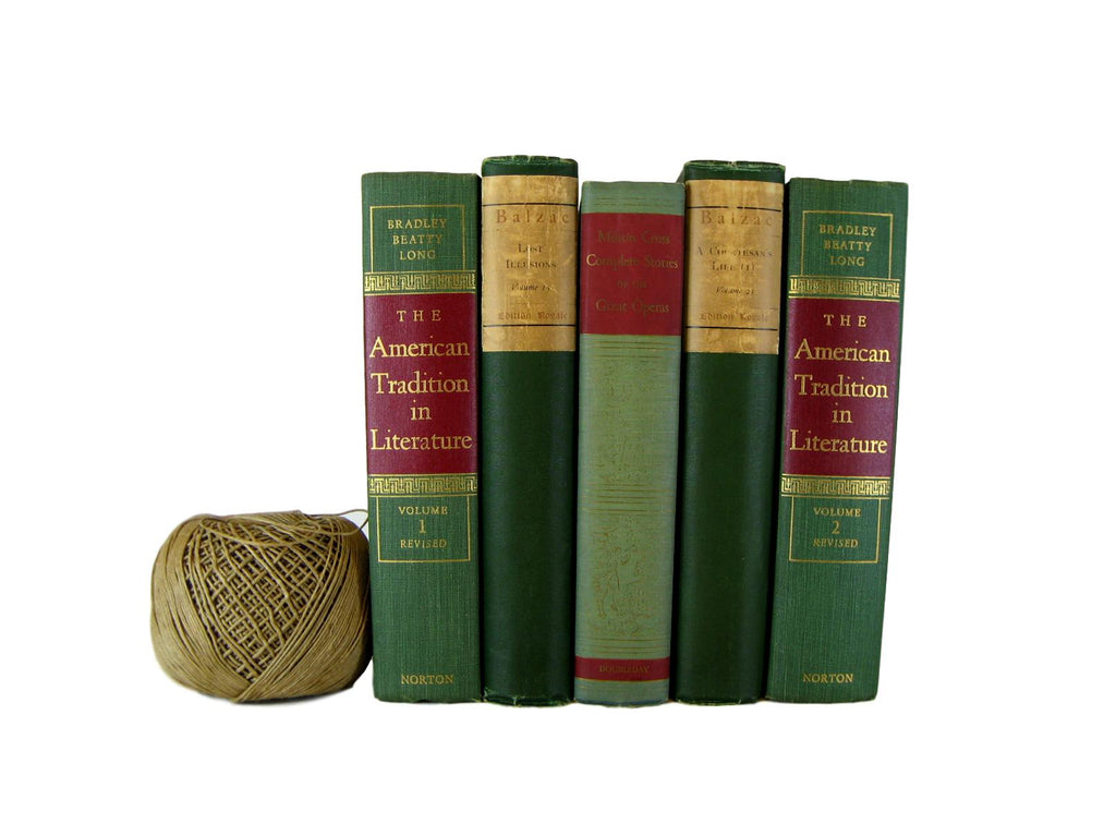 Green Decorative  Books with Red Embellishments for Designer Book Decor, S/5 - Decades of Vintage