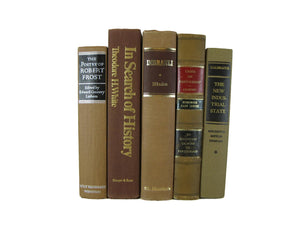 Decorative Books in Brown for  Vintage Book Decor, S/5 - Decades of Vintage