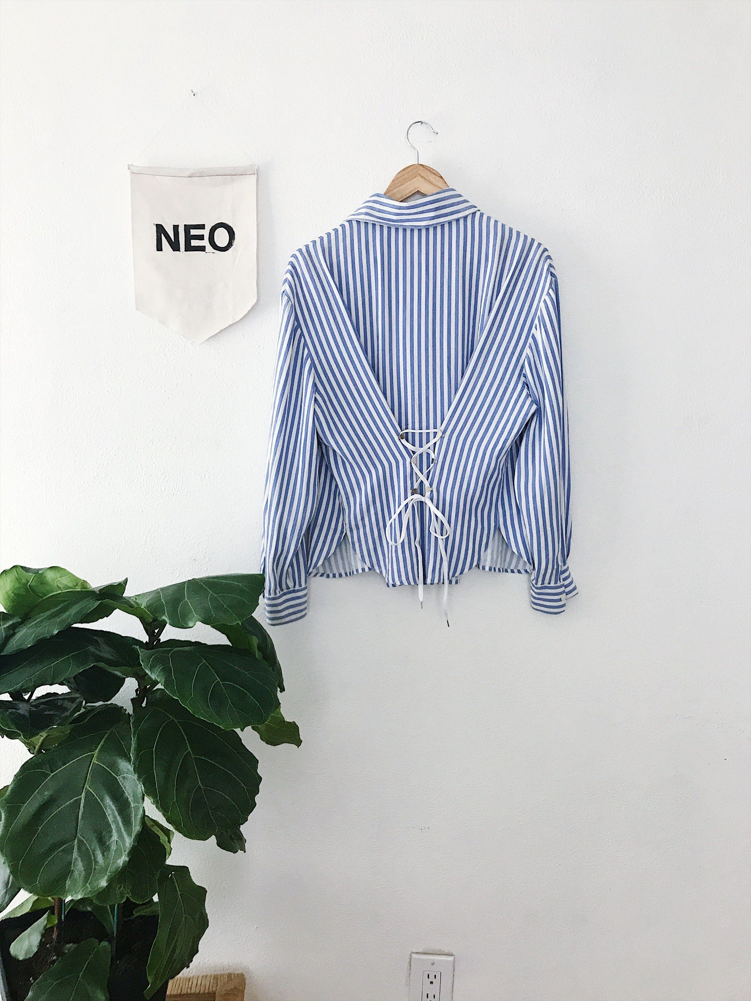 Striped Corset Back Button Down